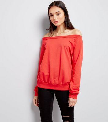 Red Bardot Neckline Sweater