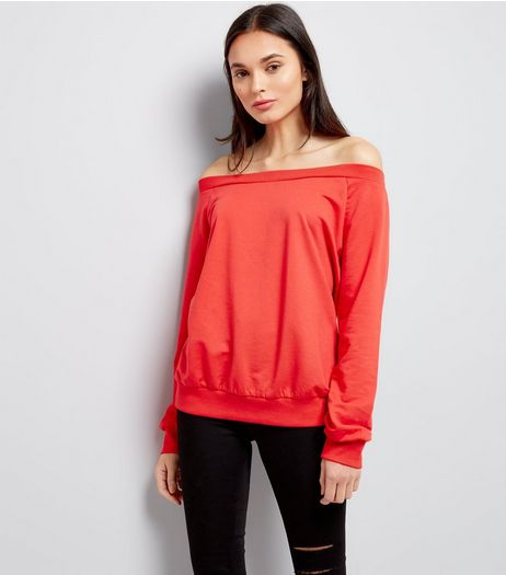 Red Bardot Neckline Sweater  | New Look