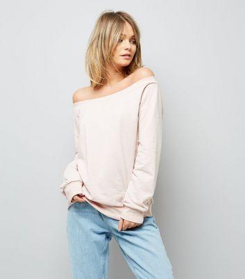 Pink Bardot Neckline Sweater