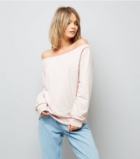 Pink Bardot Neckline Sweater  | New Look