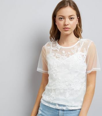 White Butterfly Embroidred Mesh Top With Cami