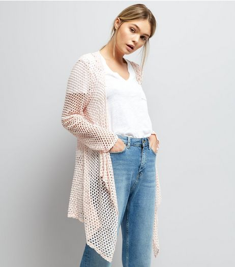 Mela Pink Crochet Waterfall Cardigan | New Look