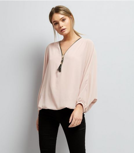 Mela Shell Pink Zip Front Batwing Sleeve Top | New Look