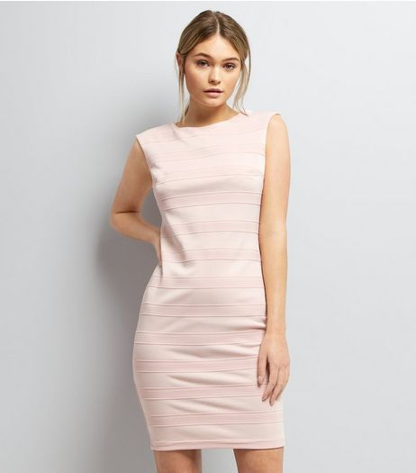 Mela Pink Textured Stripe Bodyon Dress | New Look