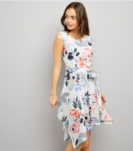 Mela White Floral Print Pointed Hem Dress | New Look