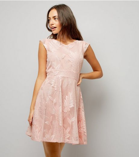 Mela Pink Lace Embroidered Skater Dress | New Look