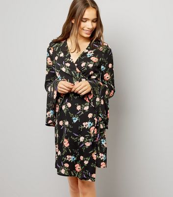 Black Floral Print Bell Sleeve Wrap Dress