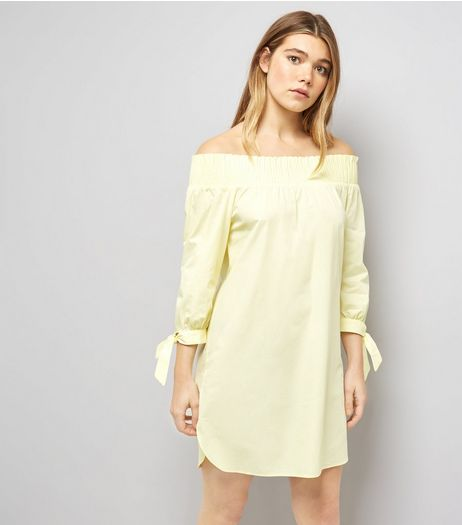 Yellow Tie Sleeve Shirred Bardot Neck Dress | New Look