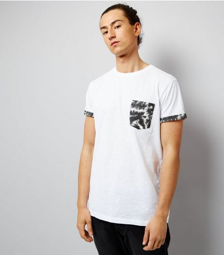 White Acid Wash Pocket T-Shirt | New Look