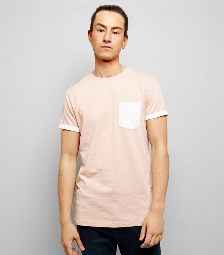 Pink Contrast Pocket T-Shirt | New Look
