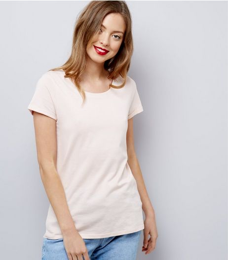 Shell Pink Fitted T-Shirt | New Look