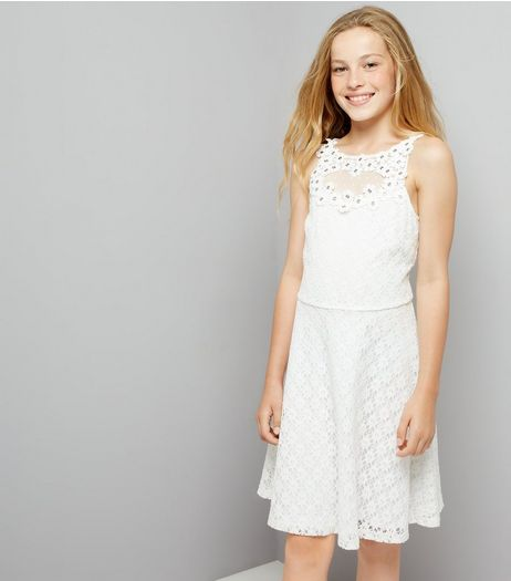 Teens White Floral Applique Lace Dress | New Look