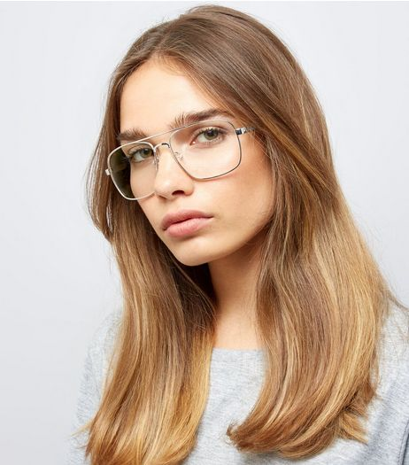 Silver T Bar Clear Lens Glasses | New Look