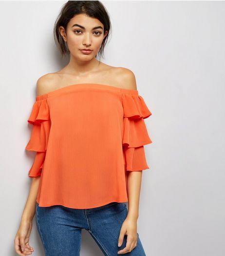 Orange Tiered Sleeve Bardot Neck Top | New Look