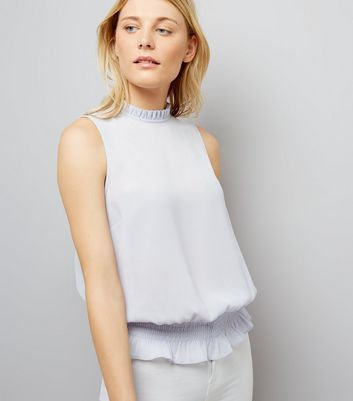 Pale Blue Shirred Waist Blouse
