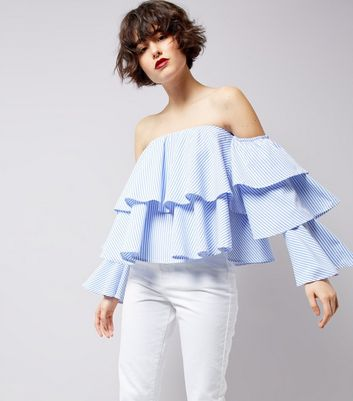 Blue Stripe Tiered Frill Bardot Top