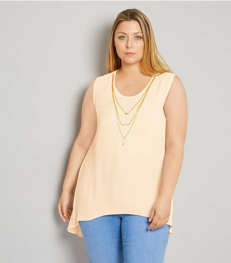 Curves White Necklace Detail Split Back Top | New Look