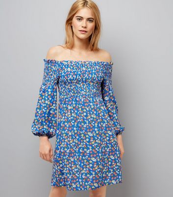 Blue Ditsy Print Shirred Bardot Skater Dress