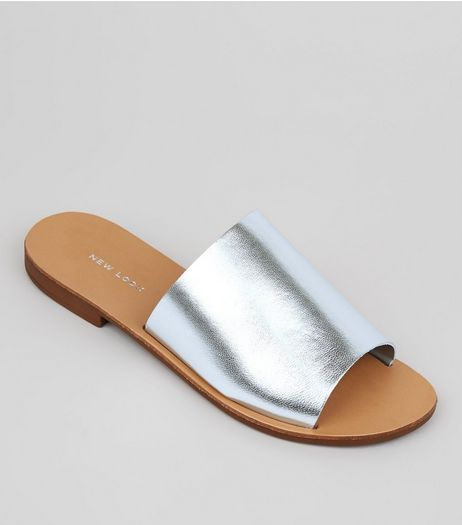 Silver Leather Mules | New Look