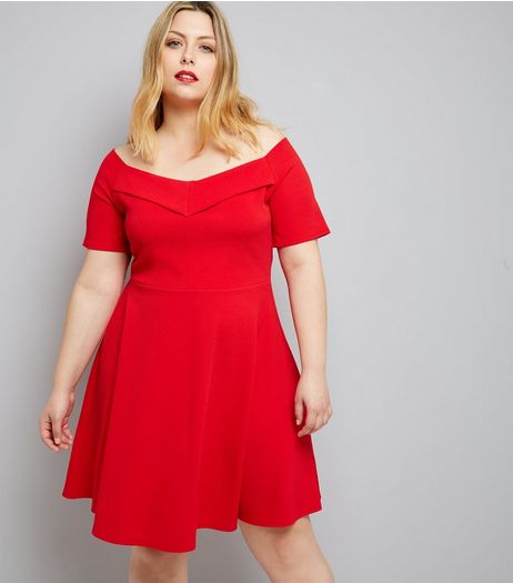 Curves Red Bardot Neck Crepe Skater Dress | New Look