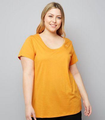 Curves Orange Scoop Neck T-Shirt