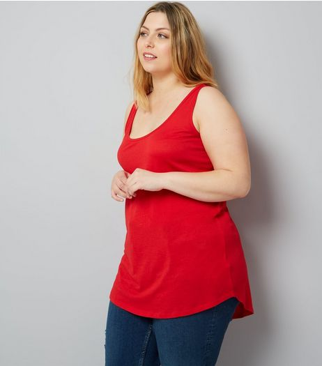 Curves Red Scoop Neck Vest | New Look