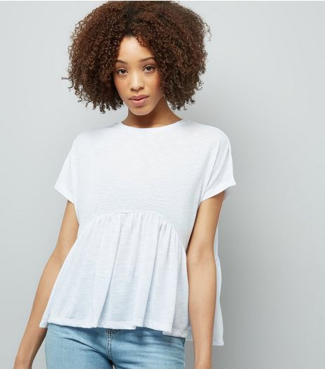 White Peplum Hem T-Shirt | New Look