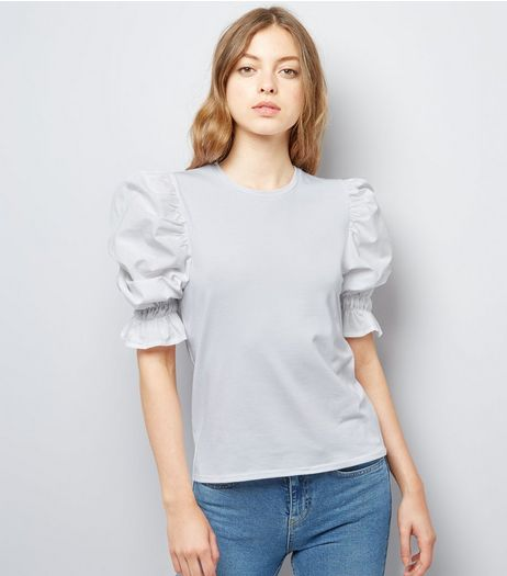 White Gathered Sleeve Top | New Look