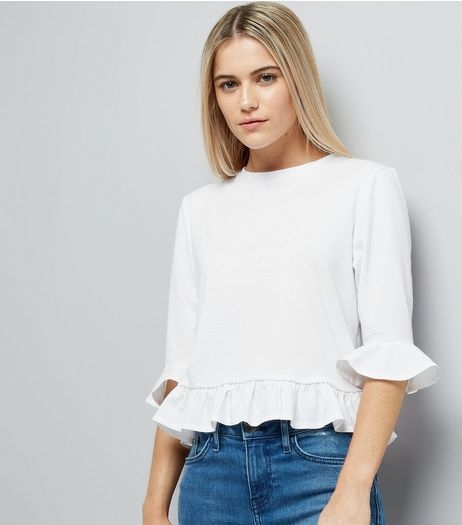 White Frill Hem T-Shirt  | New Look
