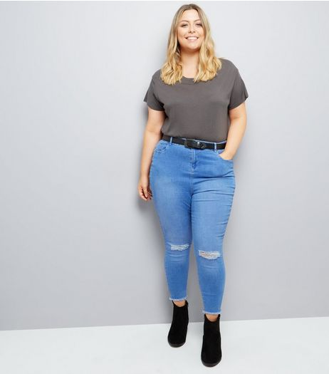 Curves Light Blue Ripped Knee Skinny Jeans | New Look