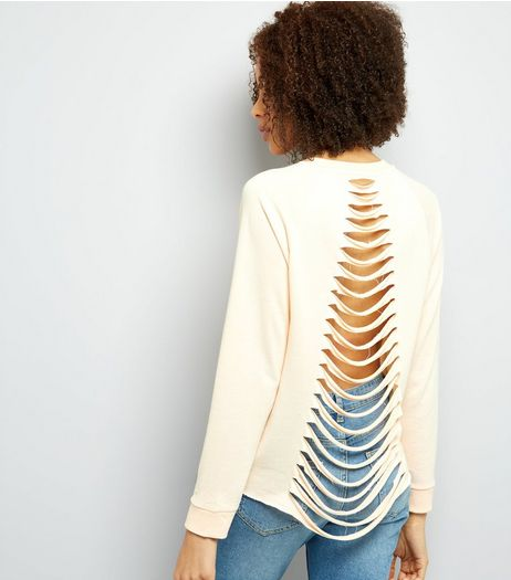Shell Pink Ripped Ladder Back Jumper | New Look