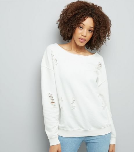 White Ripped Long Sleeve Sweater  | New Look