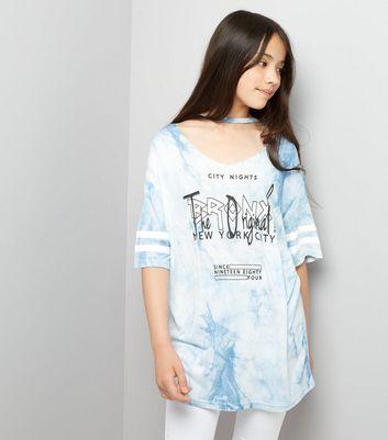 Teens Blue Tie Dye Choker Neck Bronx Slogan T-Shirt