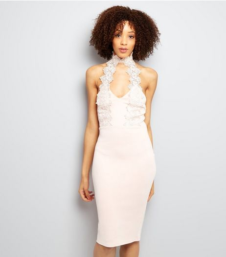 AX Paris Pink Lace Choker Neck Dress | New Look