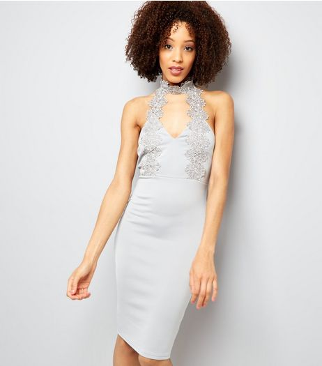 AX Paris Silver Lace Choker Neck Dress  | New Look