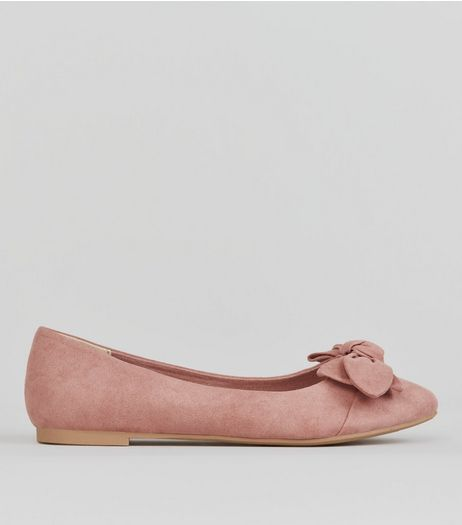 Teens Pink Suedette Bow Front Pumps  | New Look