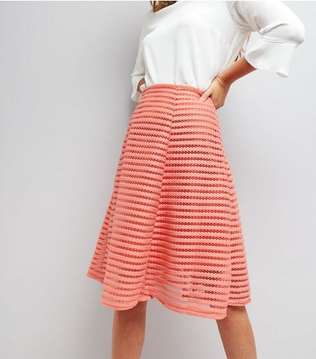 Apricot Coral Mesh Stripe A-Line Midi Skirt  | New Look
