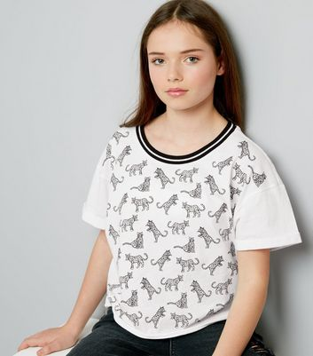 Teens White Stripe Neck Leopard Print T-Shirt
