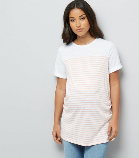 Maternity Orange Stripe Longline T-Shirt | New Look