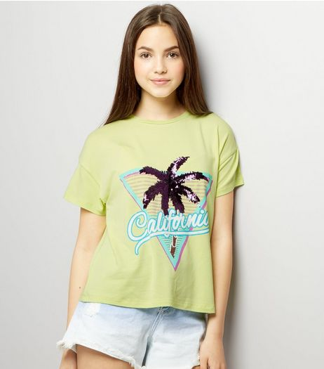 Teens Yellow Sequin Palm Tree T-Shirt | New Look