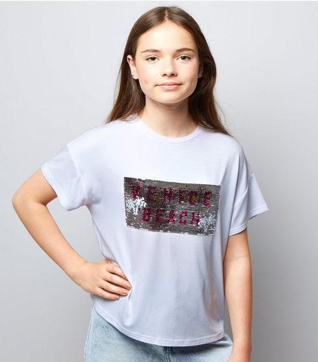 Teens White Venice Beach 2 Way Sequin T-Shirt | New Look