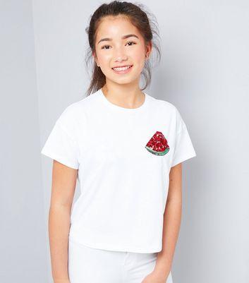 Teens White Watermelon Sequin Badge T-Shirt