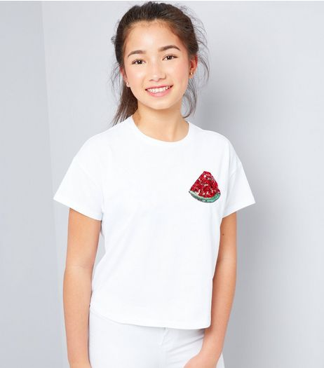 Teens White Watermelon Sequin Badge T-Shirt | New Look