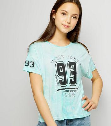 Teens Mint Green Tie Dye 93 Print T-Shirt
