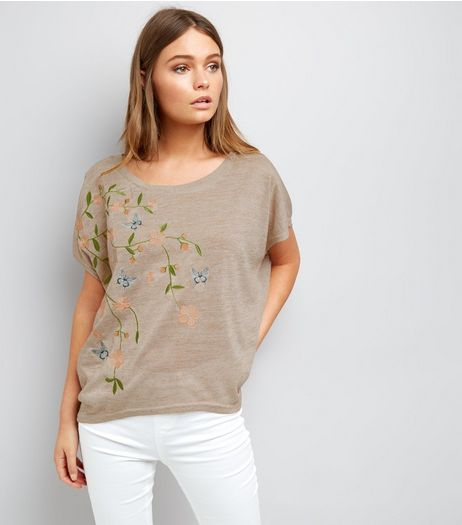 Apricot Stone Floral Embroidered Fine Knit Top  | New Look