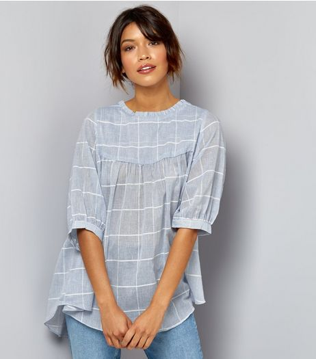 Apricot Blue Check Smock Top | New Look