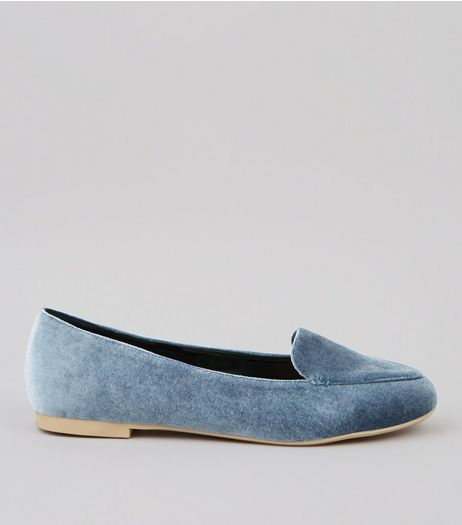 Blue Velvet Tab Slippers  | New Look