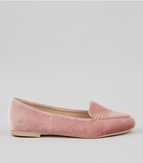 Pink Velvet Tab Slippers | New Look