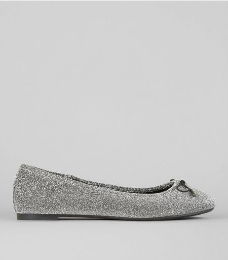 Silver Glitter Ballerina Pumps | New Look