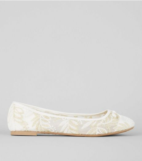 White Lace Leaf Ballerina Pumps  | New Look